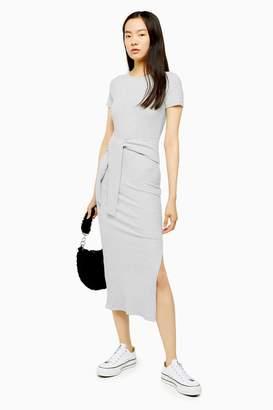 Topshop Grey Belted Ribbed Column Jersey Dress