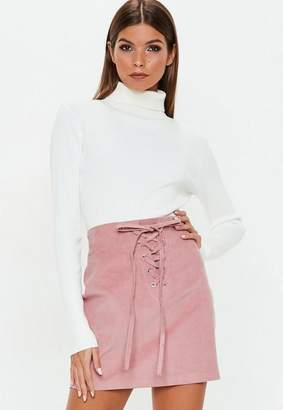 Missguided Pink Corduroy Lace Up Front Mini Skirt