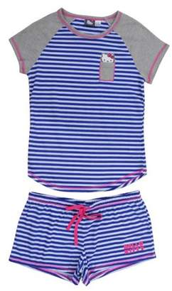 Hello Kitty CLASSIC BLUE STRIPED SHORTIE PAJAMAS FOR WOMEN