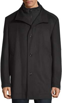 HUGO BOSS Men's Wool Zip-Front Coat