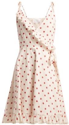 Athena Procopiou - Embroidered Cotton Blend Wrap Dress - Womens - Red Multi