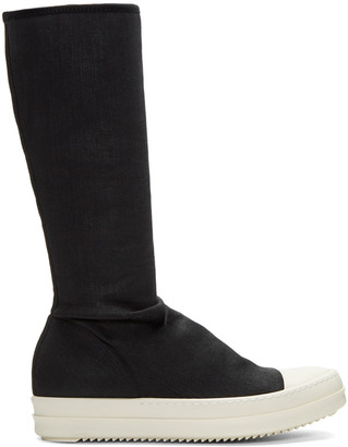 Rick Owens Drkshdw Black Sock Boots $725 thestylecure.com