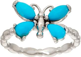 Sleeping Beauty Turquoise or Ethiopian Opal Butterfly Sterling Ring