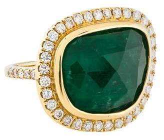 Ring 18K Emerald & Diamond Cocktail