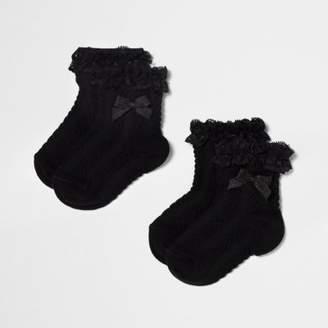 River Island Mini girls black frill bow socks multipack