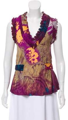 Etro Ruched Floral Top