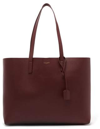 Saint Laurent East West Medium Leather Tote - Womens - Burgundy