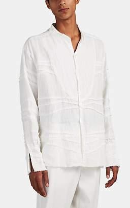 Greg Lauren Men's Distressed Pleated Linen Studio Shirt - White