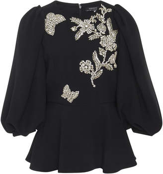 Andrew Gn Butterfly Beaded Cady Peplum Blouse