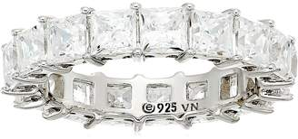 Swarovski Amazon Collection Platinum Plated Sterling Silver Zirconia Princess Cut Eternity Band Ring, Size 7