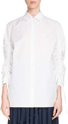 Kenzo Button-Front Drawstring-Sleeve Poplin Shirt