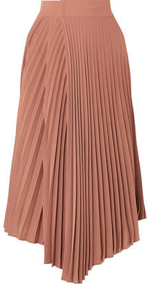Vince Pleated Crepe De Chine Wrap Skirt - Pink