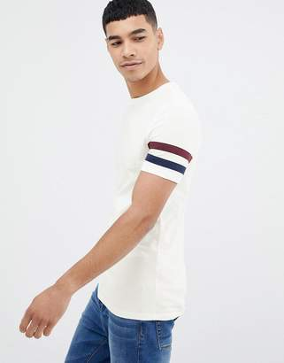 Off-White ASOS DESIGN t-shirt with sleeve stripe in