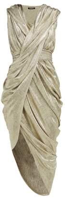Balmain Ruched Asymmetric Metallic Jersey Dress - Womens - Gold
