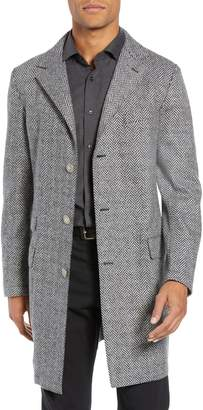 Eleventy Trim Fit Wool Blend Top Coat