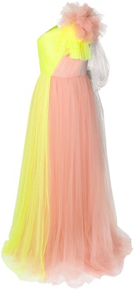 DELPOZO contrast flared maxi dress