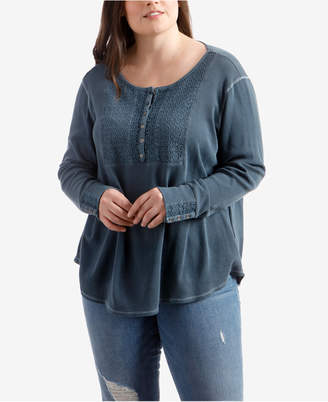 Lucky Brand Trendy Plus Size Cotton Embroidered Top