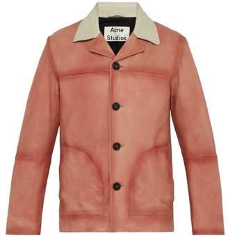 Acne Studios Oversized Faded Leather Jacket - Mens - Orange