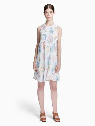 Calvin Klein floral embroidered chiffon trapeze dress