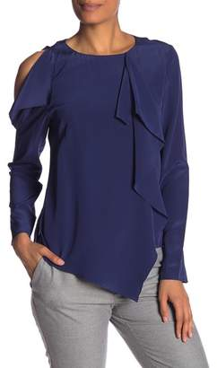 Nicole Miller Cold Shoulder Solid Silk Asymmetrical Blouse