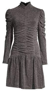 Rebecca Taylor Long-Sleeve Ruched Metallic Dress