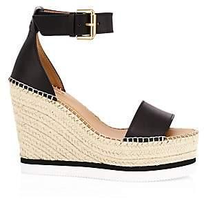 See by Chloe Women's Glyn Leather Platform Wedge Espadrille Sandals