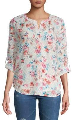 Daniel Rainn Textured Floral Blouse