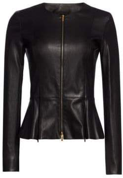 The Row Essentials Anasta Leather Peplum Jacket