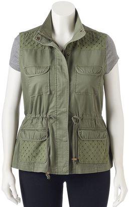 Juniors' Plus Size Candie's® Eyelet Utility Vest $50 thestylecure.com
