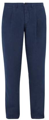 120% Lino Mid Rise Linen Trousers - Mens - Dark Navy