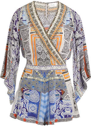 Camilla - Chinese Whispers Embellished Printed Silk Crepe De Chine Playsuit - Light blue $550 thestylecure.com
