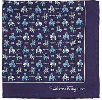 Salvatore Ferragamo Men's Elephant- & Horse-Print Silk Pocket Square