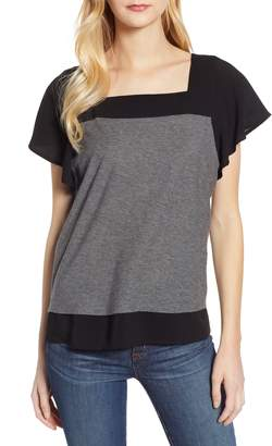 Vince Camuto Layered Look Flutter Sleeve Top