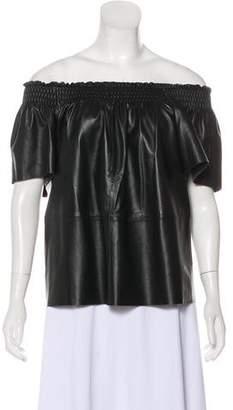 Tanya Taylor Leather Off-the-Shoulder Top