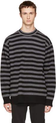 Alexander Wang Grey Striped Merino Crewneck Sweater