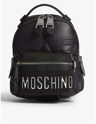 Moschino Black and Silver Quilted Small Backpack