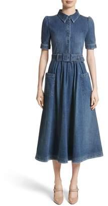 Co Denim Fit & Flare Midi Dress