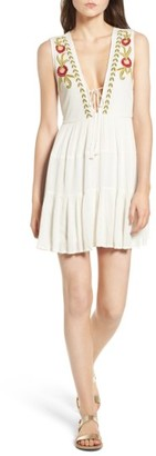 Women's Band Of Gypsies Embroidered Plunging Dress $83 thestylecure.com