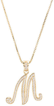 The M Jewelers NY The Iced Out Script Initial M Necklace