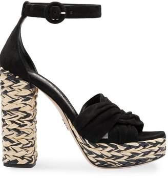 Prada suede espadrille platform sandals