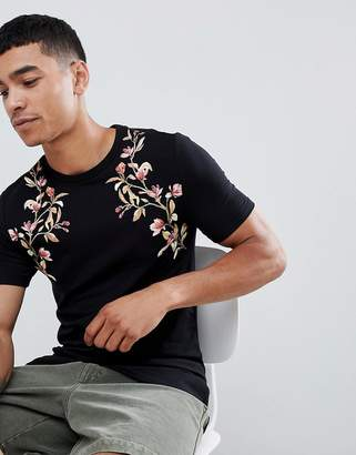 Asos DESIGN muscle fit t-shirt with floral yoke print