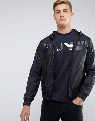 Armani Jeans Mixed Fabric Large Eagle Zip Through Hooded Sweat