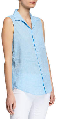 Frank And Eileen Sleeveless Button-Down Linen Shirt w/ Chest Pocket