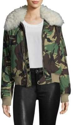 Rag & Bone Shearling-Trim Camo Flight Jacket