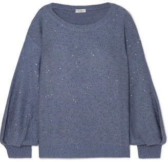 Brunello Cucinelli Sequin-embellished Cashmere And Silk-blend Sweater - Blue