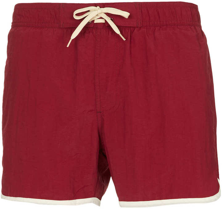 Topman Burgundy Swim Shorts