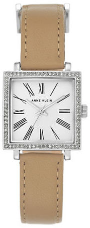 Anne Klein Anne Klein Silvertone Swarovski Crystal & Tan Leather Strap Watch