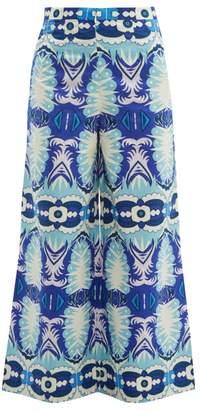 Le Sirenuse Le Sirenuse, Positano - Natalie Printed Cotton Poplin Trousers - Womens - Blue Multi