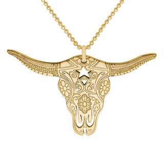 CarterGore - Gold Texas Longhorn Pendant Necklace