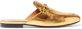 Gucci Princetown Horsebit-detailed Metallic Leather Slippers - Gold